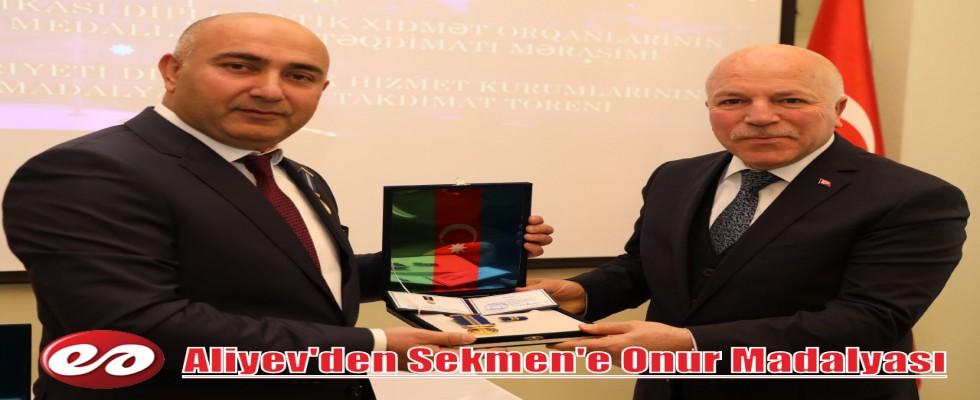 Azerbaycan Cumhurbaşkanı Aliyev'den Başkan Sekmen'e Madalya